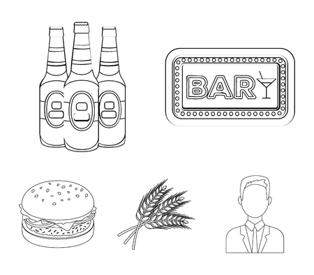 Bar, pub, restaurant, cafe .Pub set collection icons in outline style vector symbol stock illustration .