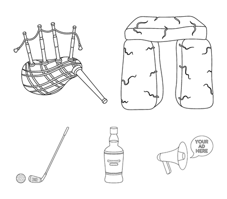 Stone monument, bagpipe, whiskey, golf. Scotland country set collection icons in outline style vector symbol stock illustration . Illustration