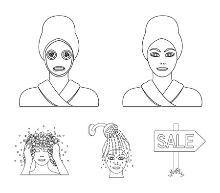 Hands, hygiene, cosmetology and other  icon in outline style.Bath, clothes, means icons in set collection. Çizim