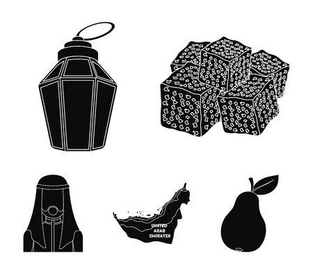 Eastern sweets, Ramadan lamp, Arab sheikh, territory.Arab emirates set collection icons in black style vector symbol stock illustration. Vettoriali