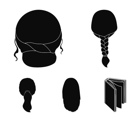 Light braid, fish tail and other types of hairstyles. Back hairstyle set collection icons in black style vector symbol stock illustration .
