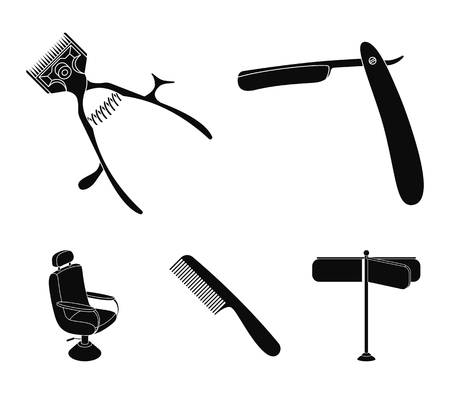 A razor, a mechanical hair clipper, an armchair and other equipment for a hairdresser. Illustration