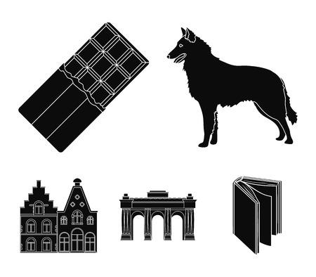 Chocolat, cathédrale et autres symboles du pays.Belgique définie des icônes de collection dans l'illustration stock du symbole vecteur style noir. Banque d'images - 95150361