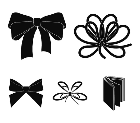 Bow, ribbon, decoration, and other  icon in black style. Gift, bows, node, icons in set collection. Illustration