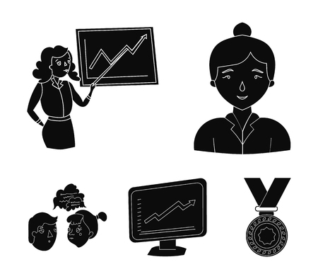Businesswoman, growth charts, brainstorming.Business-conference and negotiations set collection icons in black style vector symbol stock illustration web.