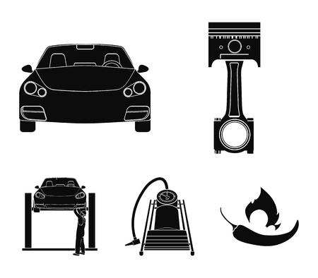 Voiture sur ascenseur, piston et pompe icônes noires dans la collection de jeu pour la conception. Station de maintenance de voiture vecteur symbole stock illustration web.