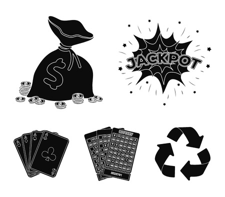 Jack sweat, a bag with money won, cards for playing Bingo, playing cards. Casino and gambling set collection icons in black style vector symbol stock illustration web.