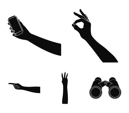 Gebarentaal zwarte pictogrammen in set collectie voor design. Emotioneel deel van communicatie vector symbool stock illustratie.