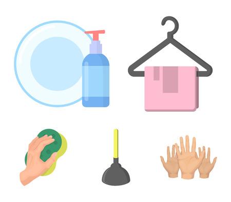 Reiniging en meid cartoon pictogrammen in set collectie voor design. Apparatuur voor het reinigen van vector symbool stock illustratie. Vector Illustratie
