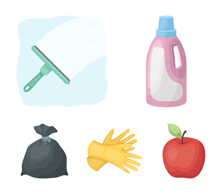 Gel voor het wassen in een roze fles, gele handschoenen voor het reinigen, een borstel voor glas, een zwarte zak voor afval of afval. Het schoonmaken van vastgestelde inzamelingspictogrammen in illustratie van de het symboolvoorraad van de beeldverhaalstijl de vector.