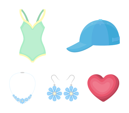 Cap, earrings, necklace, swimsuit. Clothing set collection icons in cartoon style vector symbol stock illustration .