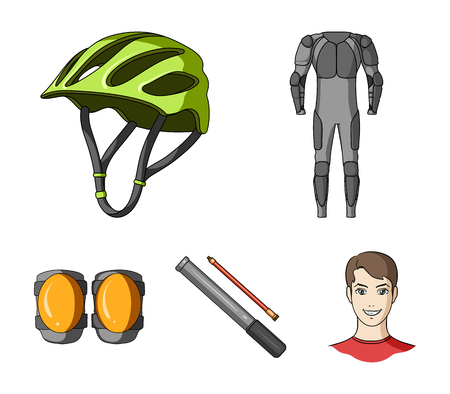 Full-body suit for the rider, helmet, pump with a hose, knee protectors.Cyclist outfit set collection icons in cartoon style vector symbol stock illustration .