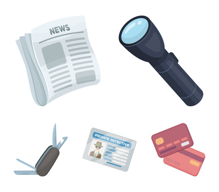 Flashlight, newspaper with news, certificate, folding knife.Detective set collection icons in cartoon style vector symbol stock illustration .