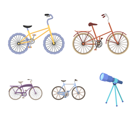 Childrens bicycle and other kinds.Different bicycles set collection icons in cartoon style vector symbol stock illustration . Ilustracja