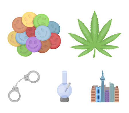 Hemp leaf, ecstasy pill, handcuffs, bong.Drug set collection icons in cartoon style vector symbol stock illustration . Illustration