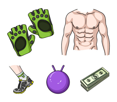 Mens torso, gymnastic gloves, jumping ball, sneakers. Fitnes set collection icons in cartoon style. Stock Illustratie