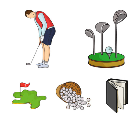 Stand for a golf club, muzhchin playing with a club, basket with balls, label with a flag on the golf course. Illustration