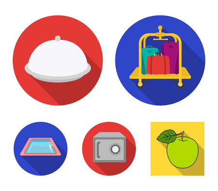 Trolley with luggage, safe, swimming pool, clutch.Hotel set collection icons in flat style vector symbol stock illustration web.