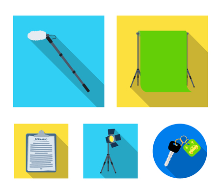 Hromakey, script and other equipment. Making movies set collection icons in flat style vector symbol stock illustration.