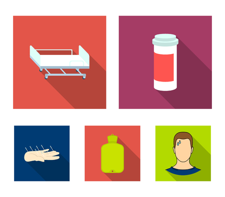 Heating pad, hospital gurney, acupuncture.Mtdicine set collection icons in flat style vector symbol stock illustration. Illustration