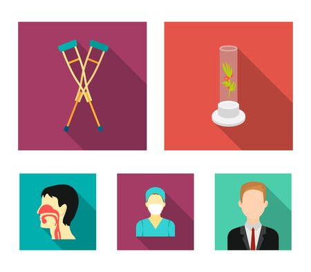Plant in vitro, crutches, nurse, human respiratory system. Medicine set collection icons in flat style vector symbol stock illustration.