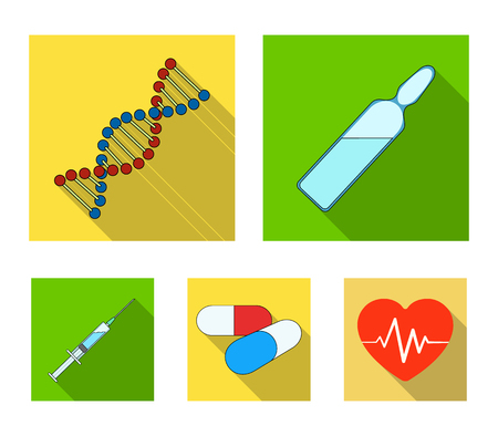 Human DNA and other equipment.Medicine set collection icons in flat style vector symbol stock illustration. Ilustrace