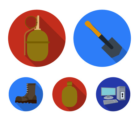 Sapper blade, hand grenade, army flask, soldiers boot. Military and army set collection icons in flat style. Ilustração