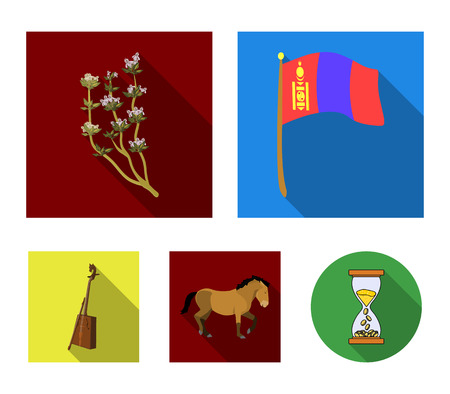 National flag, horse, musical instrument, steppe plant. Mongolia set collection icons in flat style vector symbol stock illustration web. Illustration