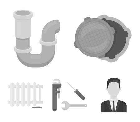 Plumbing set collection icons in monochrome style vector symbol stock illustration.