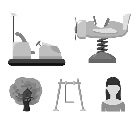 Airplane on a spring, swings and other equipment. Playground set collection icons in monochrome style vector symbol stock illustration web. Illustration