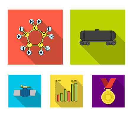 Railway tank, chemical formula, oil price chart, pipeline valve. Oil set collection icons in flat style vector symbol stock illustration web. Illustration
