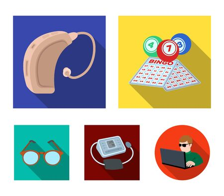 Lottery, hearing aid, tonometer, glasses. Old age set collection icons in flat style vector symbol stock illustration.