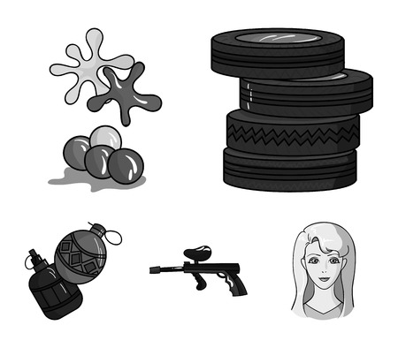 Competition, contest, equipment, tires .Paintball set collection icons in monochrome style vector symbol stock illustration.