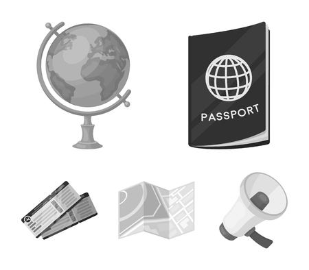 Vacation, travel, passport, globe .Rest and travel set collection icons in monochrome style vector symbol stock illustration web. Ilustracja