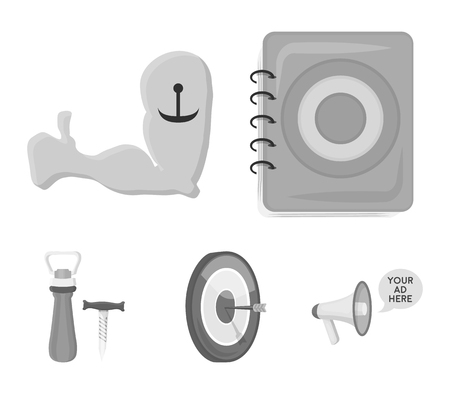 Menu, armor with tattoo, darts, corkscrew and opener.Pub set collection icons in monochrome style vector symbol stock illustration web. Stock Illustratie