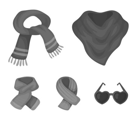 Scarves and shawls set collection icons  such as various kinds of scarves and shawls which can be a stock for web illustration. Illustration