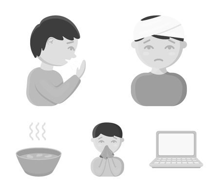 Sick set collection icons  such as a man with a bandaged head, a man coughing, a man snorts a snot, a bowl and a bowl of hot broth into a handkerchief which can be a stock for web illustration.