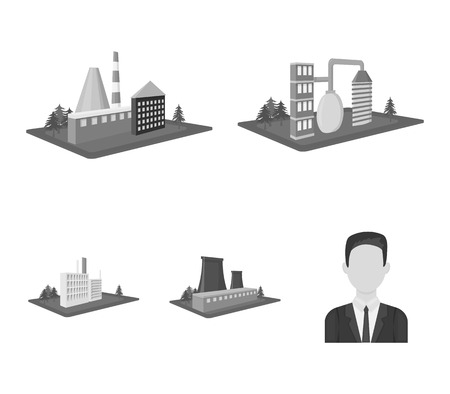Processing factory,metallurgical plant. Factory and industry set collection icons in monochrome style isometric vector symbol stock illustration .