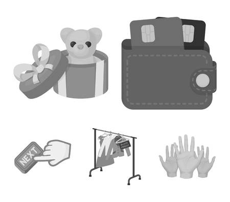 Press more icons in set collection such as purse with credit cards and other web icons which can be a gift sale of things. Illustration