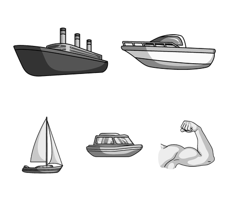 Protection boat, lifeboat, cargo steamer, sports yacht.Ships and water transport set collection icons in monochrome style vector symbol stock illustration . Illustration