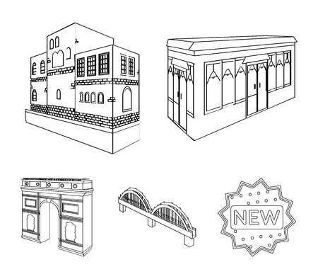 Arc de Triomphe in Paris, Reinforced bridge, cafe building, House in Scandinavian style. Architectural building set collection icons in outline style vector symbol stock illustration .