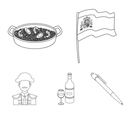 Spain country set collection icons such as Flag with the coat of arms of Spain, a national dish with rice and tomatoes, a bottle of wine with a glass, a bullfighter and a matador which can be a stock for web illustration.