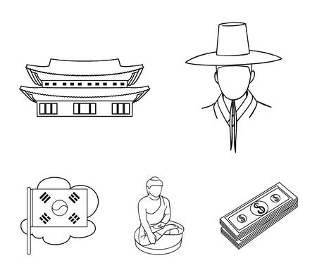 Korean in national headdress, Korean monastery, Buddha figurine, national flag. South Korea set collection icons in outline style vector symbol stock illustration web. Çizim