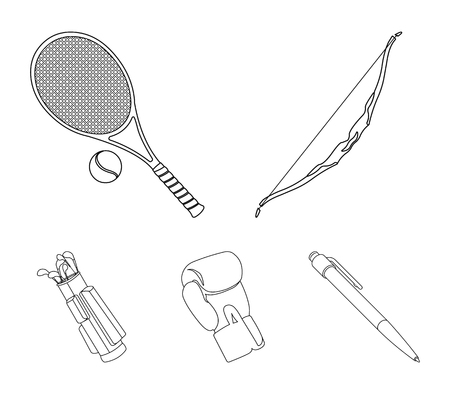 Bow for shooting at the target, racket with a ball for playing in a tennis court, a glove for boxing, a cover, a drawer for golf clubs. Sport set collection icons in outline style vector symbol stock illustration web. Illustration