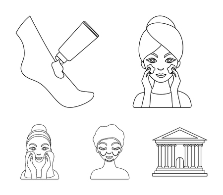 Face care, plastic surgery, face wiping, moisturizing the feet. Skin Care set collection icons in outline style vector symbol stock illustration web.