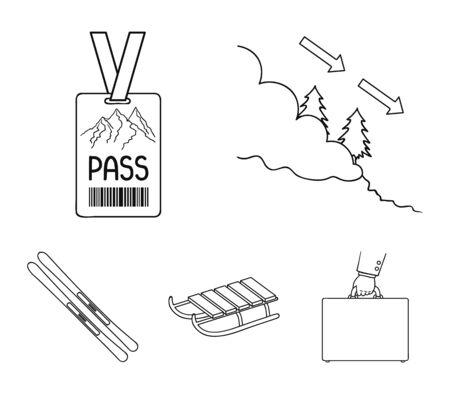 Ski, sled, lifeguard badge, badge avalanche. Ski resort set collection icons in outline style vector symbol stock illustration web. Illustration
