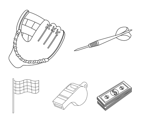Darts for the game of darts, whistle for the referee, glove for playing baseball, checkbox for the football field. Sport set collection icons in outline style vector symbol stock illustration web.