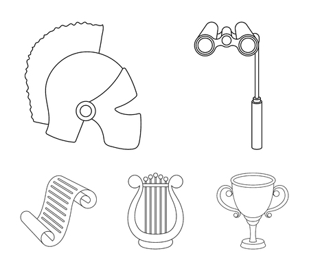 Theatrical binoculars, a helmet, a harp and a paper scroll. The theater set collection icons in outline style vector symbol stock illustration web.