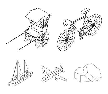 Bicycle, rickshaw, plane, yacht.Transport set collection icons in outline style vector symbol stock illustration web.