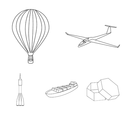 A drone, a glider, a balloon, a transportation barge, a space rocket transport modes. Transport set collection icons in outline style vector symbol stock illustration web.